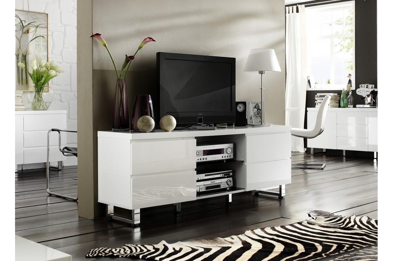 meuble tv blanc laqu design pour salon. Black Bedroom Furniture Sets. Home Design Ideas
