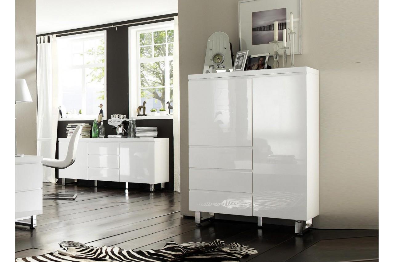 buffet haut blanc laqu design pied chrom pour salle. Black Bedroom Furniture Sets. Home Design Ideas