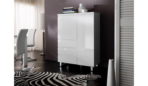 Buffet Haut Blanc Laque Design Pied Chrome Pour Salle A Manger