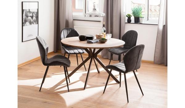 Table ronde design pas cher bois & métal