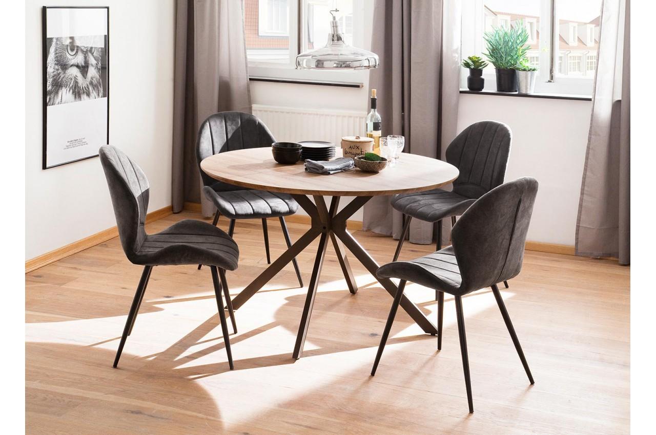 Table Ronde Design Pas Cher Bois Metal Pour Salle A Manger