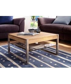Table basse carrée pas cher - Bois massif - Verre et acier