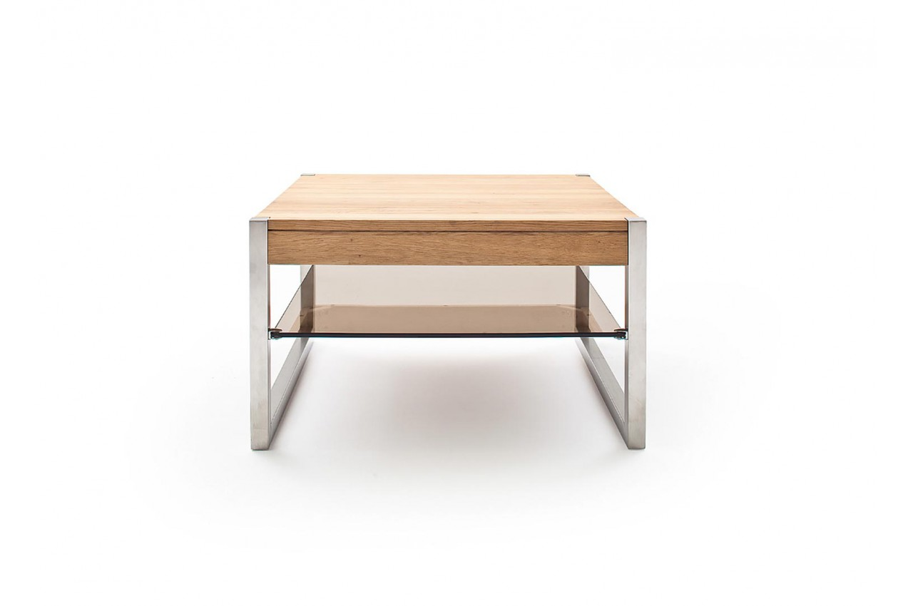Table Basse Carree Pas Cher Bois Massif Verre Et Acier Pour Salon