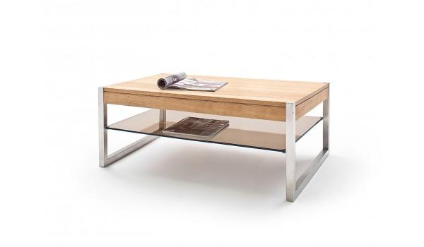 Table basse rectangulaire pas cher - Bois massif - Verre et acier