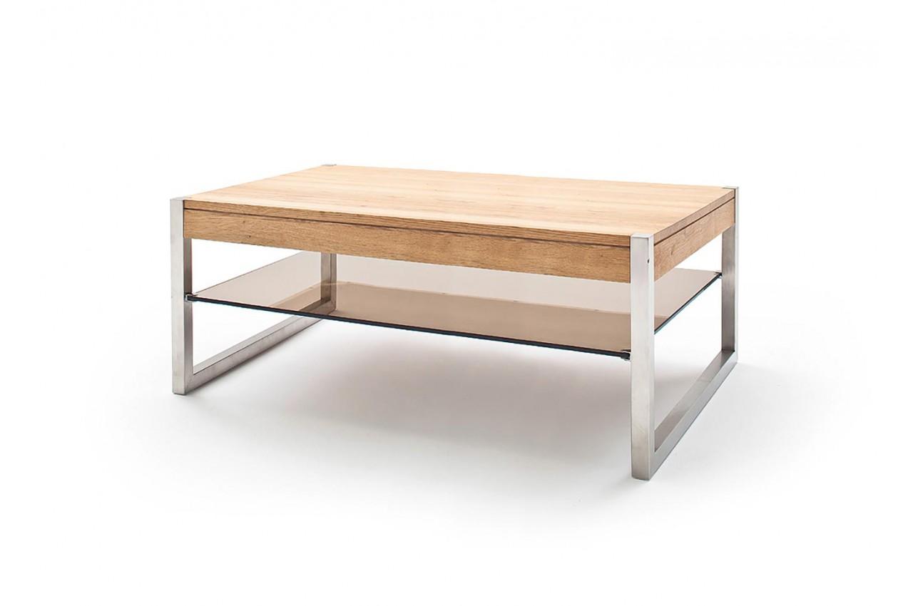 table basse rectangulaire pas cher bois massif verre et acier pour salon