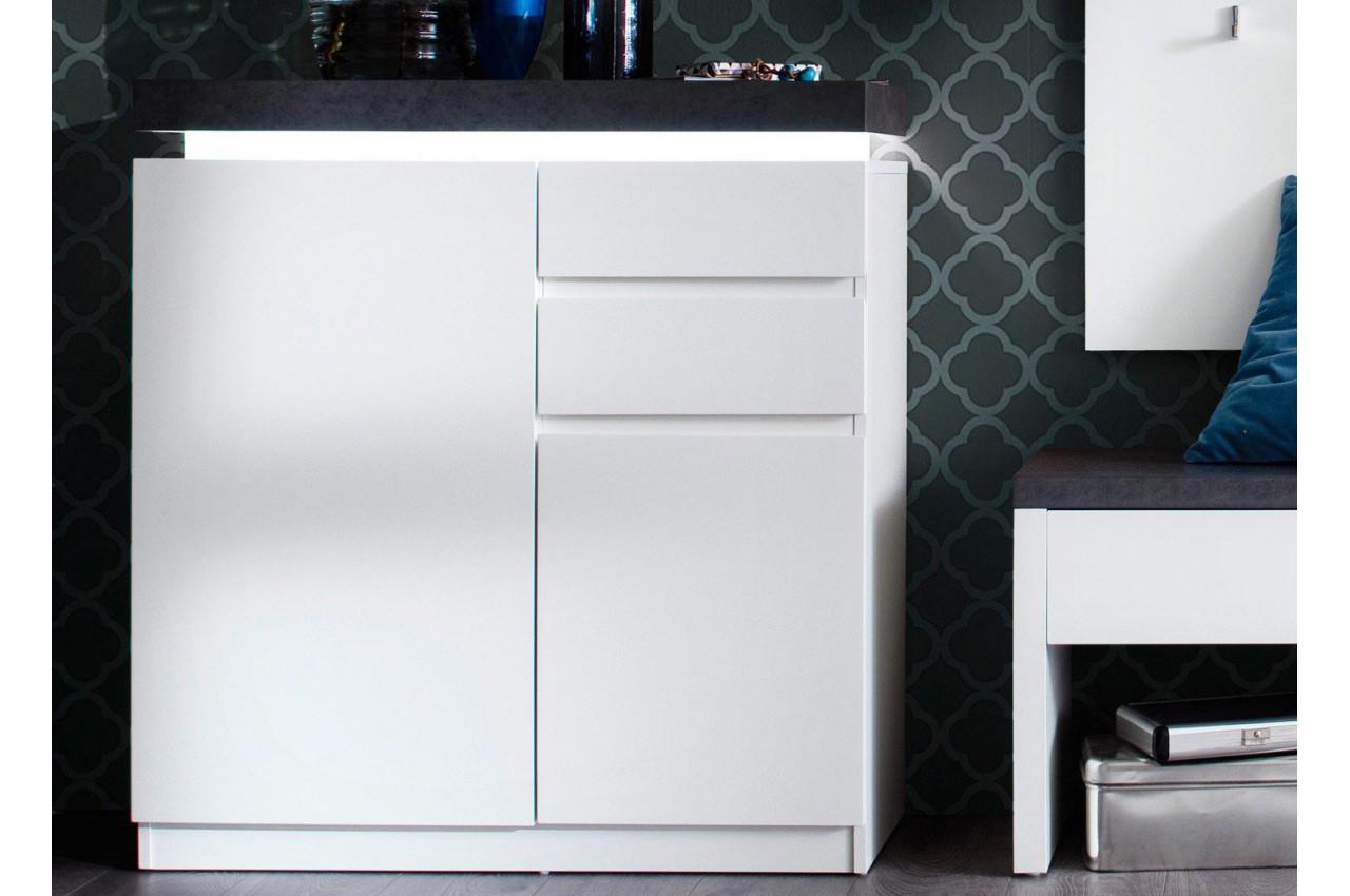 meuble d 39 entr e blanc et gris avec clairage pour rangement entr e. Black Bedroom Furniture Sets. Home Design Ideas