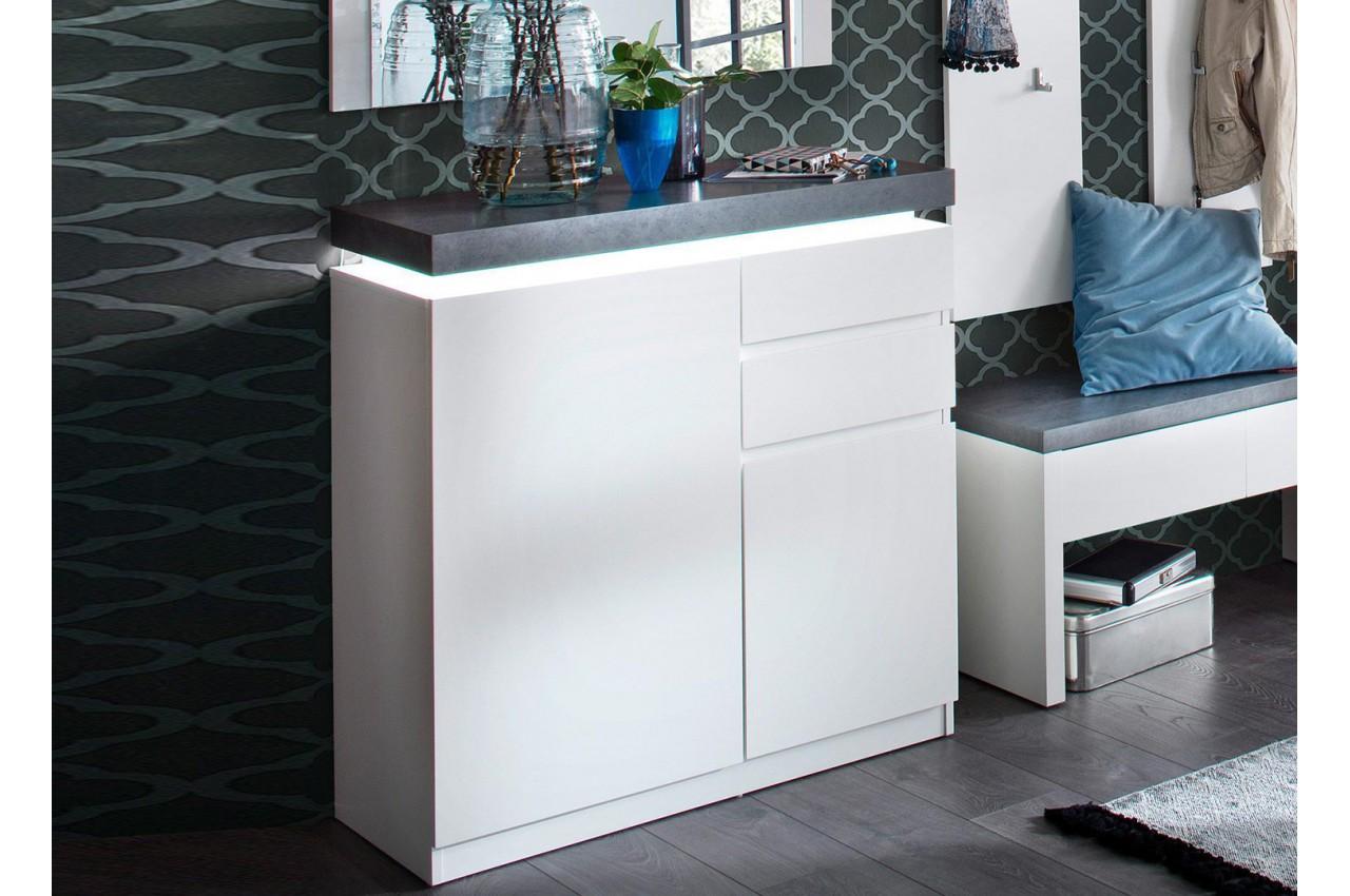 Meuble Rangement Chaussures Entree meuble d'entrée blanc et gris avec éclairage pour meuble entrée