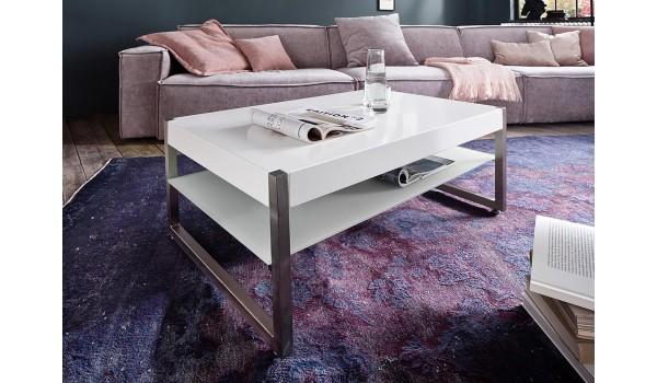 Table basse pas cher - Blanc, verre et acier