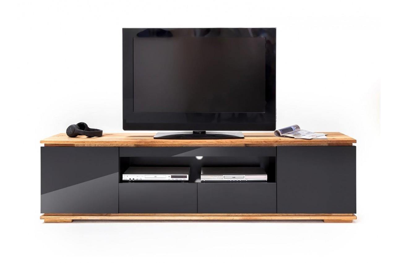 Meuble tv noir et bois design pour salon for Meuble de salon noir