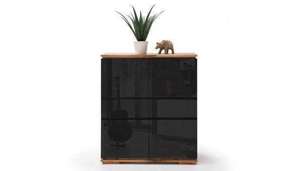 Buffet design haut noir laqué et bois massif