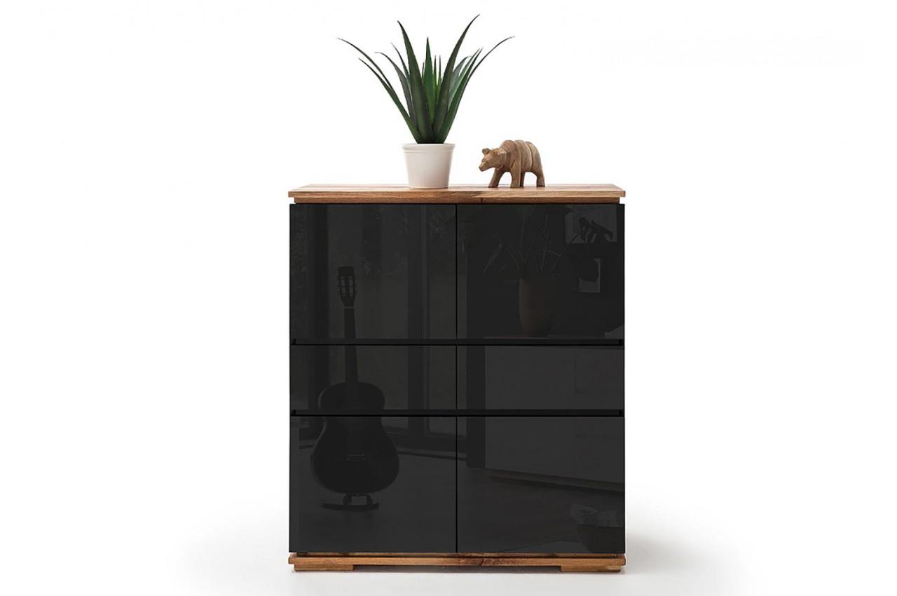 Buffet Design Haut Noir Laqué Et Bois Massif ...