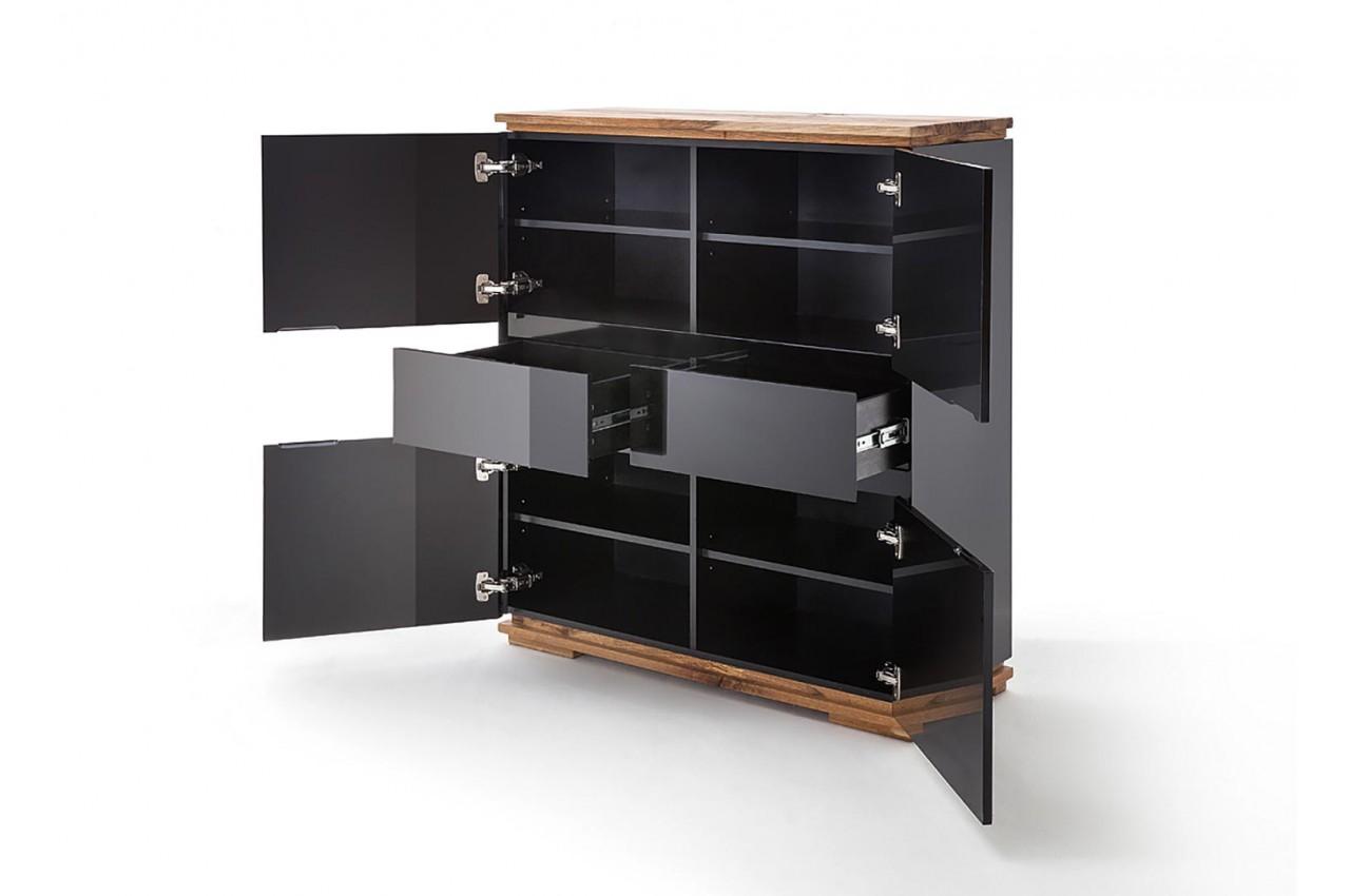 Buffet design haut noir laqué et bois massif pour salon