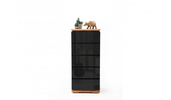 Commode haute à tiroirs noir laqué et bois massif