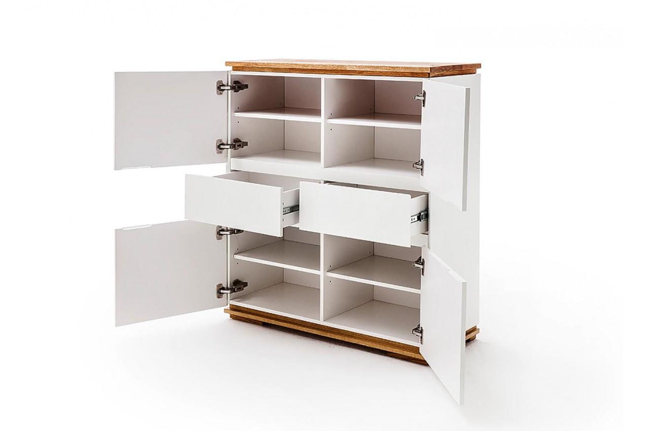 buffet design haut blanc laqu et bois massif pour salon. Black Bedroom Furniture Sets. Home Design Ideas