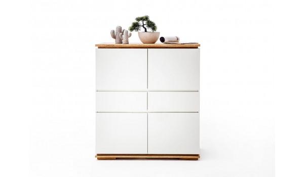Buffet design haut blanc laqué et bois massif