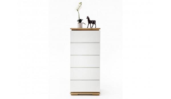 Commode haute à tiroirs blanche laqué et bois massif