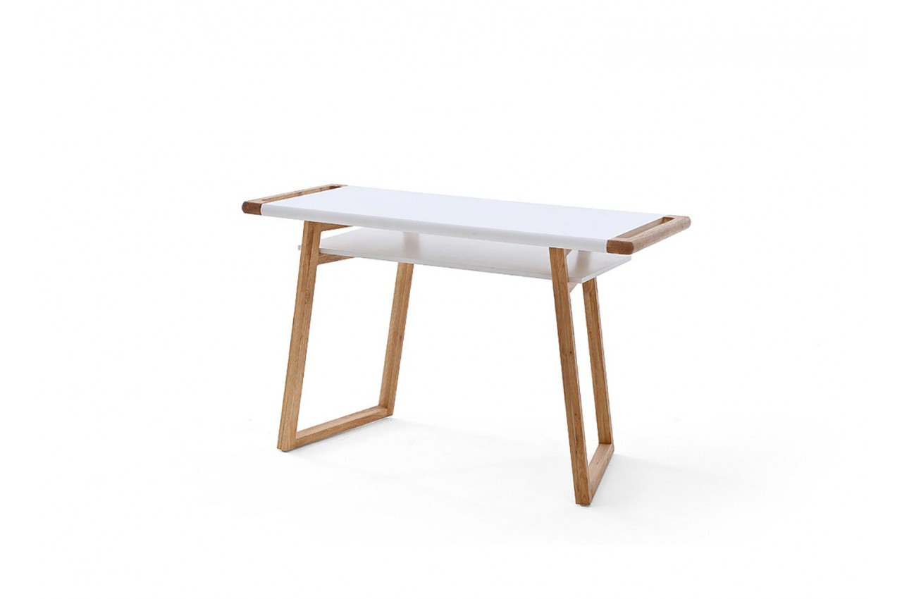 Table de bureau blanc laqué et bois design pour chambre adulte
