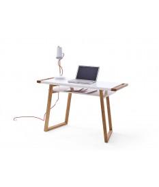 Table de bureau blanc laqué et bois design