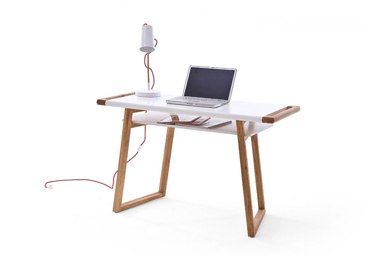Table de bureau blanc laqué et bois design novomeuble