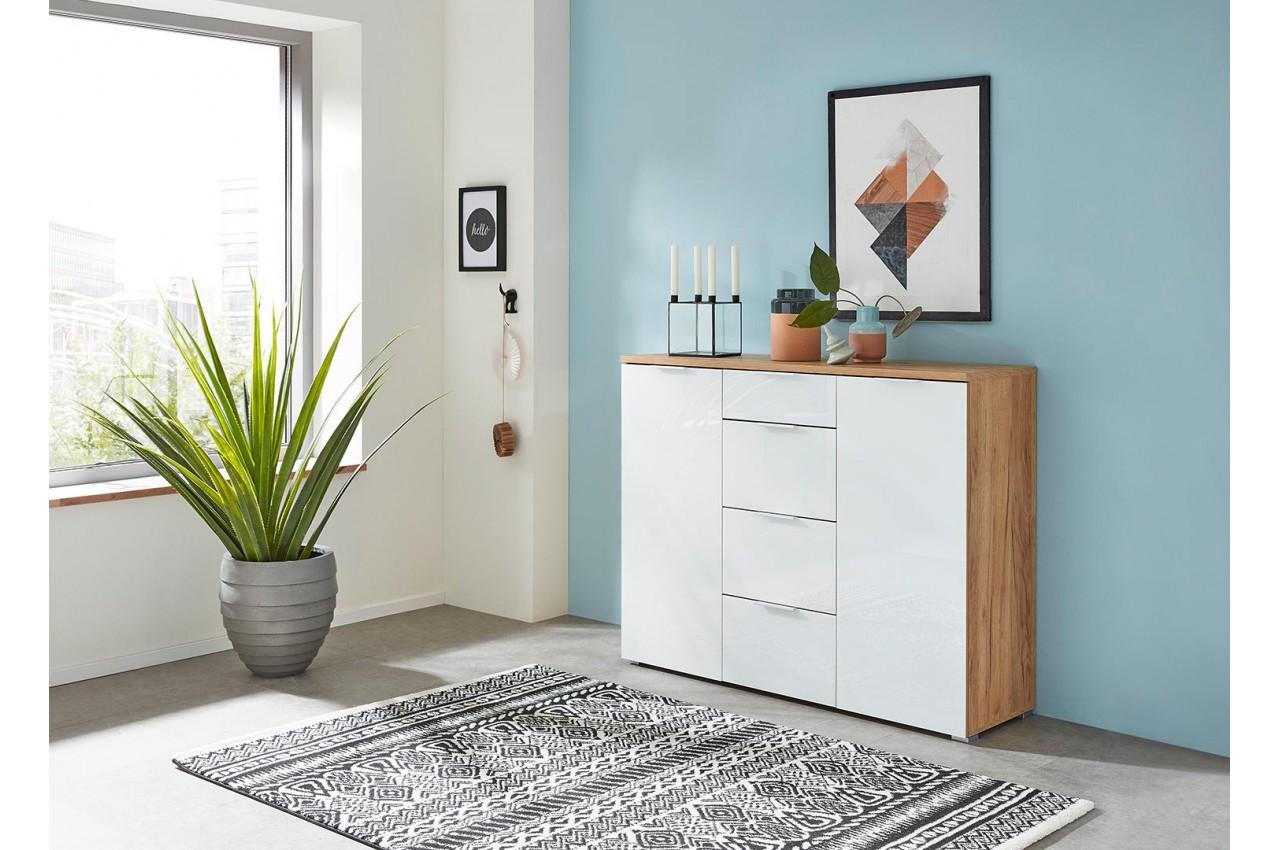 buffet blanc et bois 2 portes 4 tiroirs pour salle manger. Black Bedroom Furniture Sets. Home Design Ideas