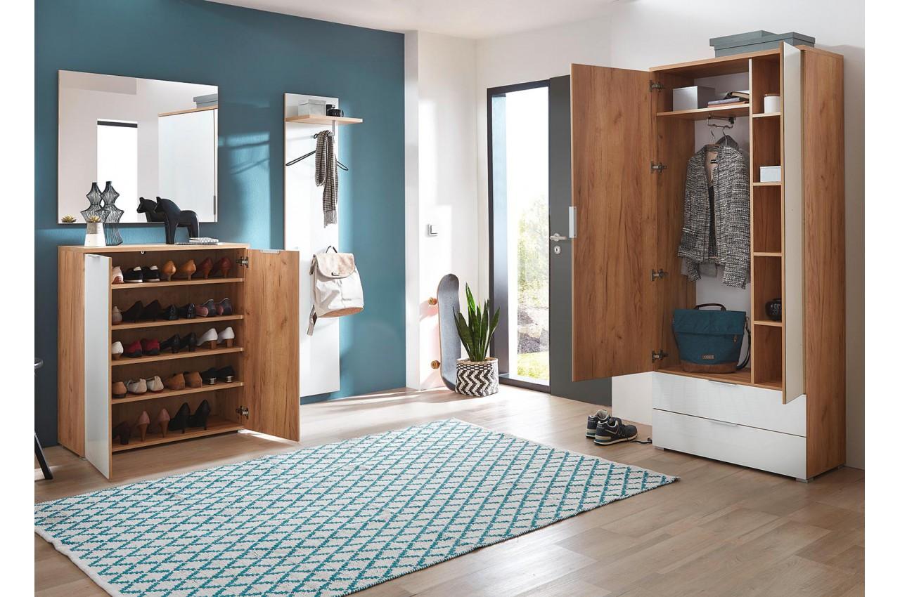 Aménagement complet pour hall d\'entrée blanc et bois pour meuble entrée