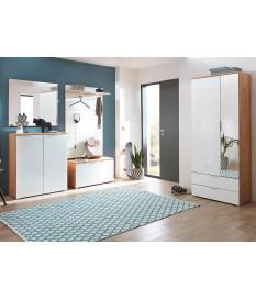Mobilier complet pour hall d'entrée blanc et bois