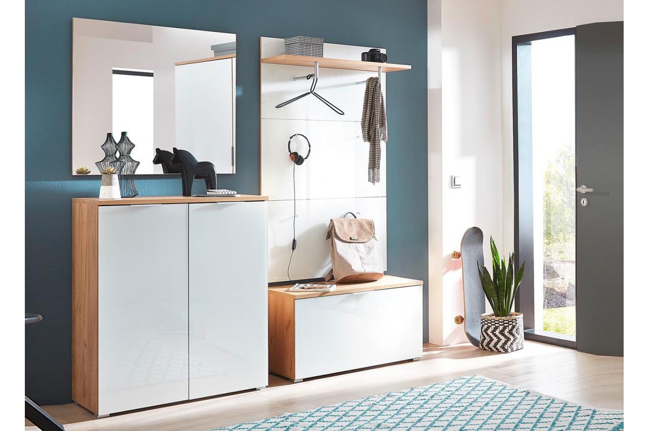 Meuble entr e ou couloir blanc et bois pour meuble entr e - Meuble entree bois ...