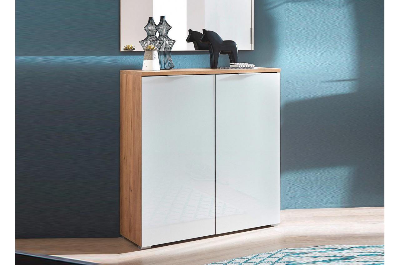 meuble chaussures blanc et bois entr e couloir pour. Black Bedroom Furniture Sets. Home Design Ideas