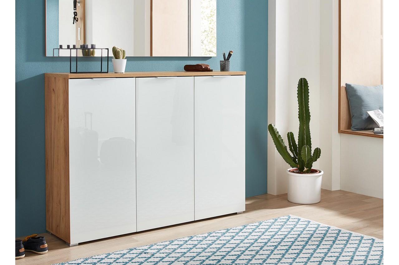 rangement chaussures blanc et bois pour meuble entr e. Black Bedroom Furniture Sets. Home Design Ideas