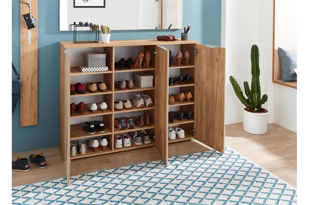 Porte Chaussure Derriere Porte rangement chaussures blanc et bois pour meuble entrée