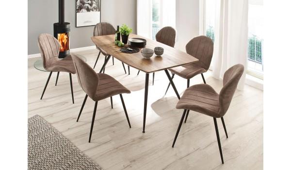 Table à manger bois / 4 Pieds métal fuselés pas cher