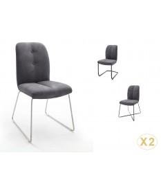 Chaise grise matelassée simili cuir / Pieds métal