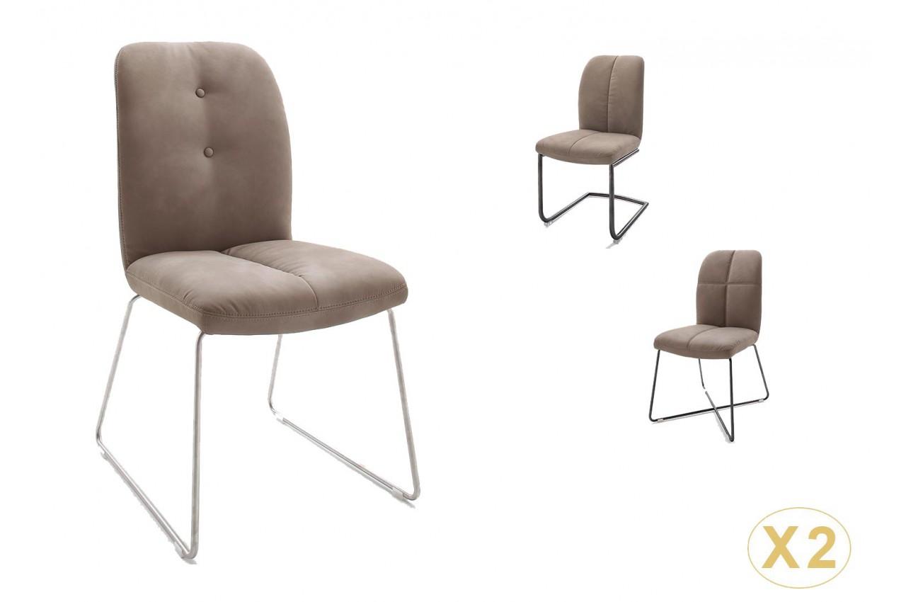 Chaise marron matelassée simili cuir / Pieds métal pour salle à manger