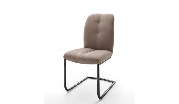 Chaise marron matelassée simili cuir / Pieds métal