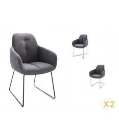 Chaise avec accoudoir capitonnée grise / Simili cuir