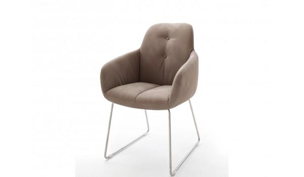 Chaise avec accoudoir capitonnée marron / Simili cuir