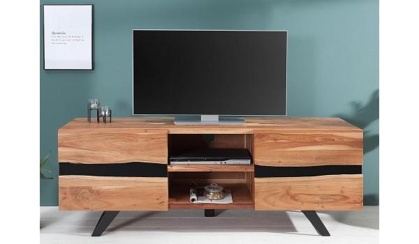 Meuble TV design bois massif et métal 160 cm / Acacia