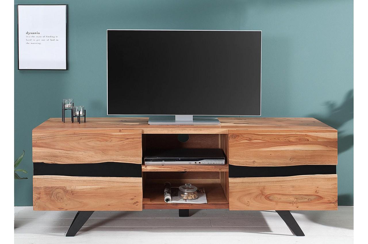 d8b461459fc85 Meuble TV design bois massif et métal 160 cm / Acacia pour salon