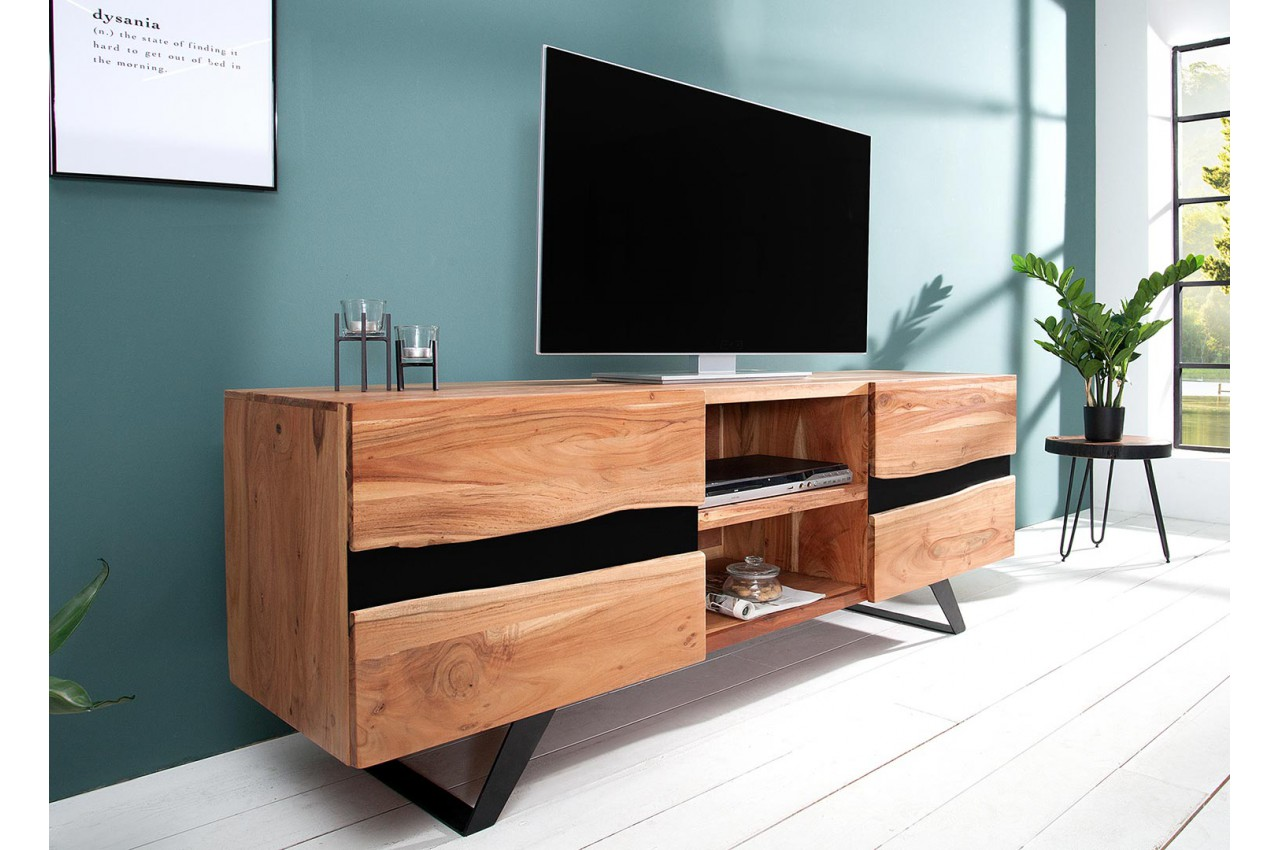 meuble tv design bois massif et m tal 160 cm acacia pour. Black Bedroom Furniture Sets. Home Design Ideas