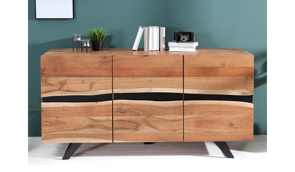 buffet bois massif et m tal 150 cm acacia novomeuble. Black Bedroom Furniture Sets. Home Design Ideas