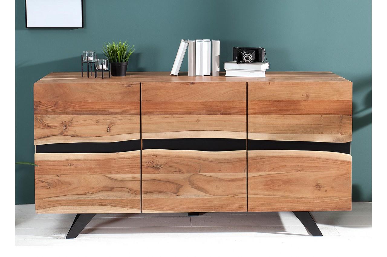 buffet bois massif et m tal 150 cm acacia pour salle manger. Black Bedroom Furniture Sets. Home Design Ideas
