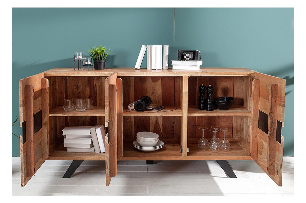 buffet bois massif et m tal 150 cm acacia pour salle manger. Black Bedroom Furniture Sets. Home Design Ideas