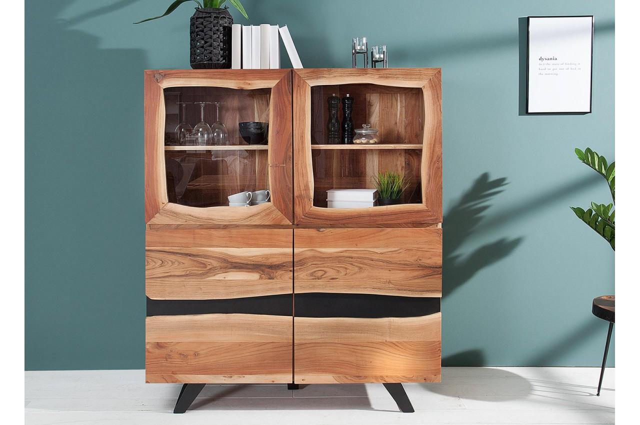 buffet haut vitr bois massif et m tal noir pour buffet bahut. Black Bedroom Furniture Sets. Home Design Ideas