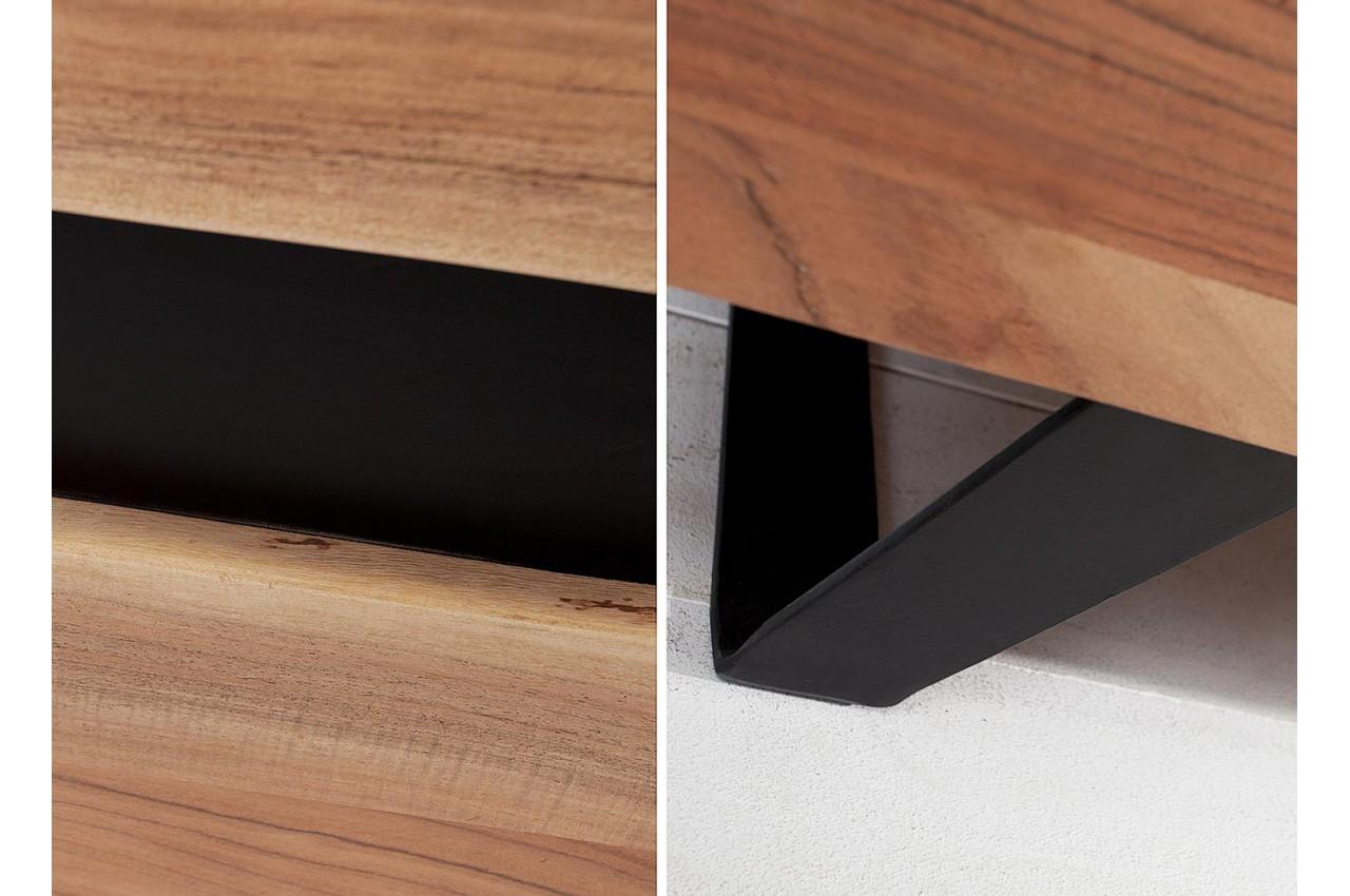 buffet haut vitr bois massif et m tal noir pour salle. Black Bedroom Furniture Sets. Home Design Ideas