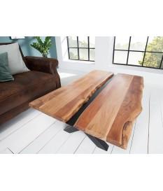Table basse bois massif et métal noir / Rectangulaire