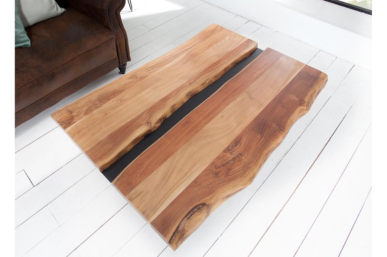 Table Basse Bois Massif Et Métal Noir Rectangulaire Pour Salon