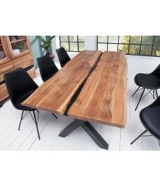 Table à manger bois massif et métal noir / Rectangulaire