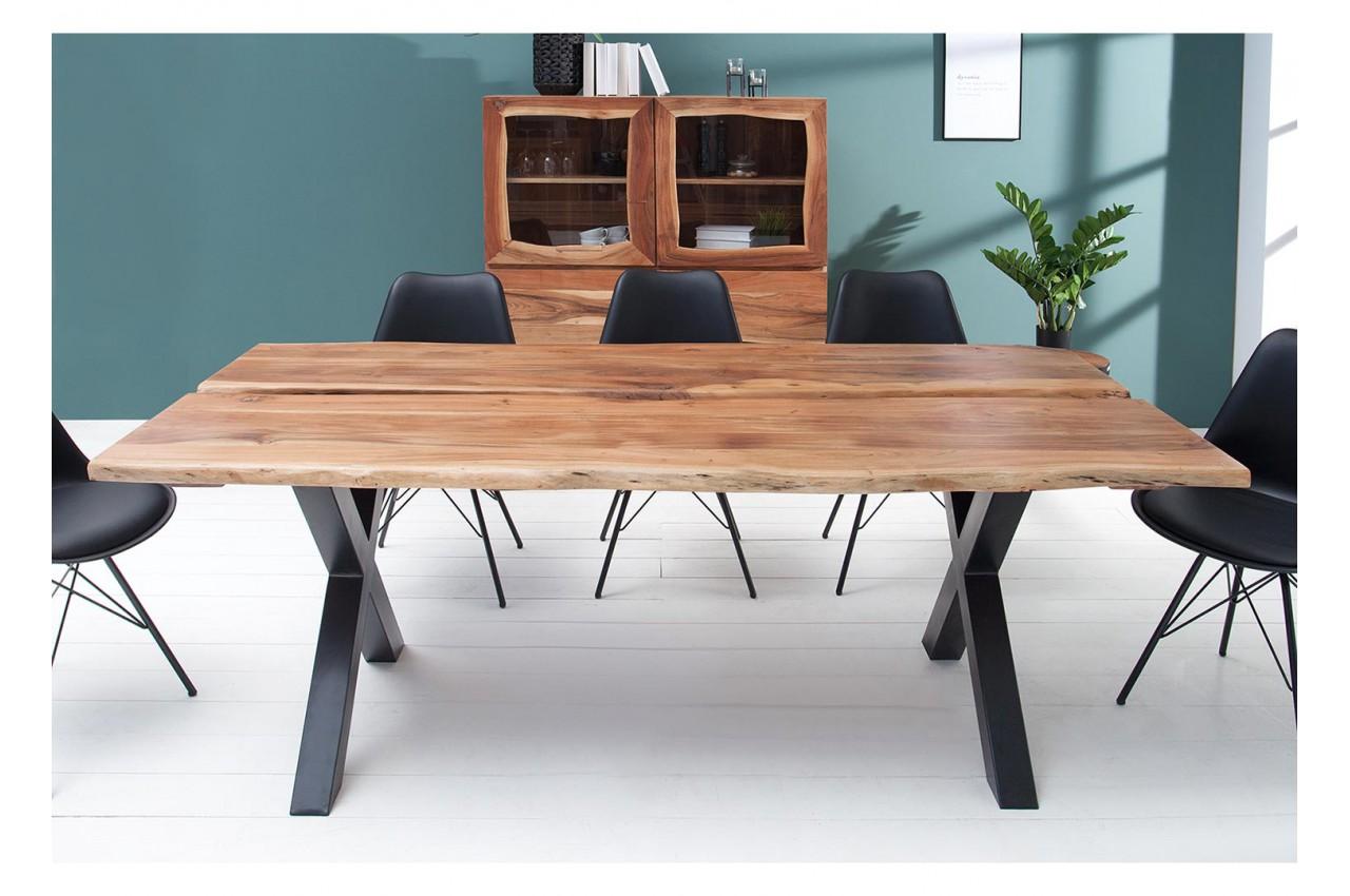 Table A Manger Bois Massif Et Metal Noir Rectangulaire Pour Salle