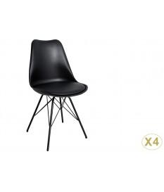 Chaise noir matelassée simili cuir noir / Pieds métal
