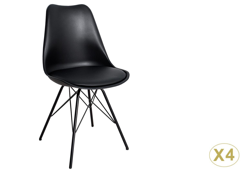 Chaise noire matelassée simili cuir noir Pieds métal pour